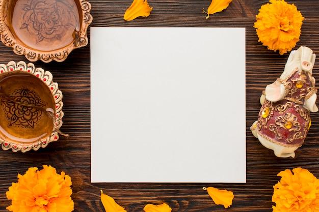Vue De Dessus Du Concept De Diwali Avec Espace Copie Photo gratuit