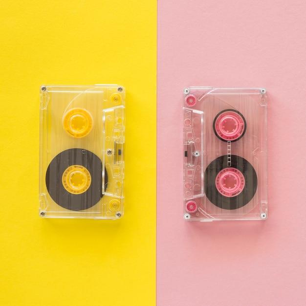 Vue De Dessus Du Concept De Musique Avec Casette Photo gratuit