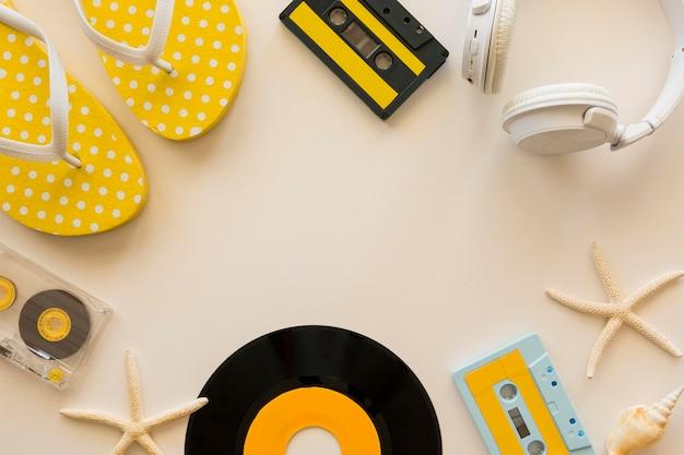 Vue De Dessus Du Concept De Musique Des écouteurs Photo gratuit