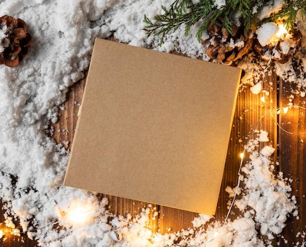 Vue De Dessus Du Concept De Neige D'hiver Photo Premium