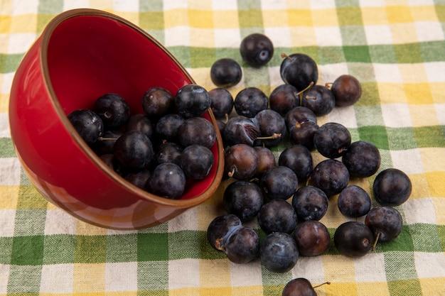 Vue De Dessus Du Petit Fruit Bleu-noir Aigre Prunelles Tombant D'un Bol Rouge Sur Un Fond De Nappe Vérifié Photo gratuit