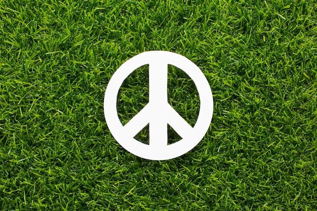 Vue De Dessus Du Signe De La Paix Sur L'herbe Photo gratuit