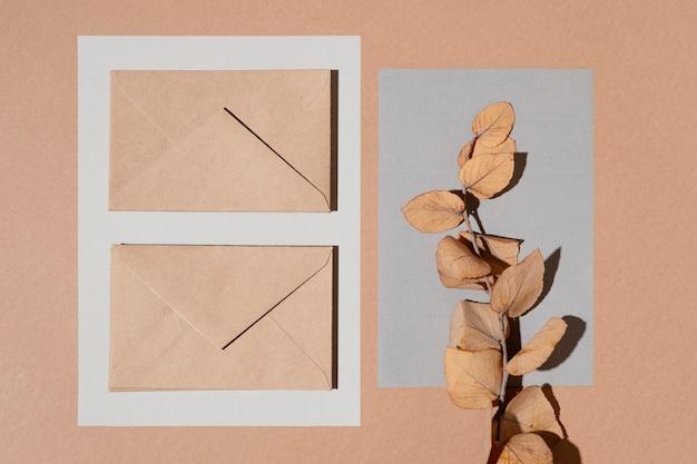 Vue De Dessus Des Enveloppes Avec Des Feuilles Photo gratuit