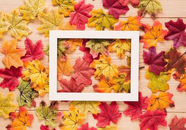 Vue de dessus des feuilles d'automne avec un cadre Photo gratuit