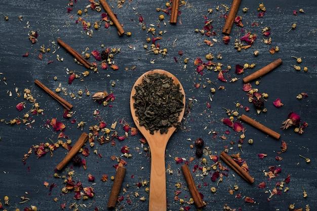 Vue de dessus des feuilles de thé vert sur une cuillère en bois Photo gratuit