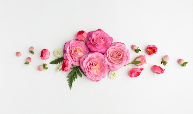 Vue De Dessus Fleurs Roses Photo gratuit