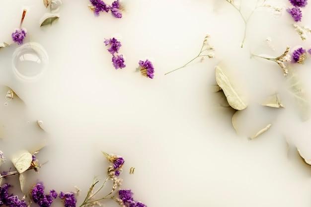 Vue De Dessus Des Fleurs Violettes Dans Les Eaux Vives Photo gratuit