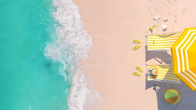 Vue De Dessus, Fond De Concept De Vacances été Vacances Plage Voyage Avec Espace Copie, Rendu 3d Photo Premium