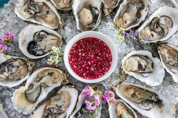 Vue de dessus d'huîtres fraîches ouvertes sur glace Photo Premium