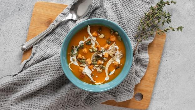 Vue De Dessus Des Ingrédients Alimentaires Avec Soupe Aux Légumes Photo gratuit