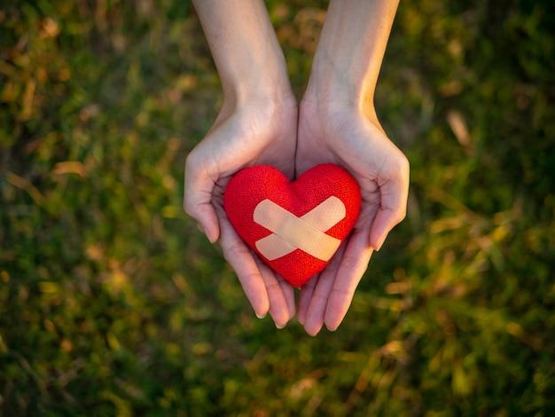 Vue de dessus main de jeune femme tenant coeur rouge. Photo Premium