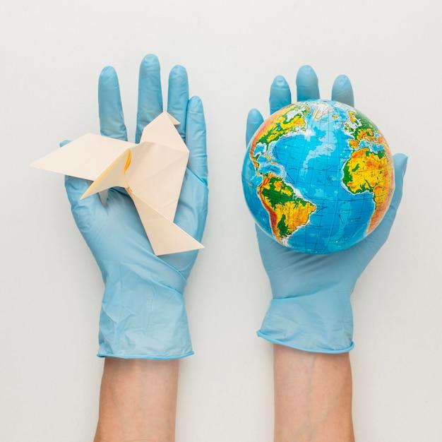 Vue De Dessus Des Mains Avec Des Gants Tenant Colombe Et Globe Photo gratuit