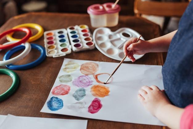 Vue De Dessus Des Mains Et De La Peinture Au Pinceau Gouache Aquarelle Photo gratuit