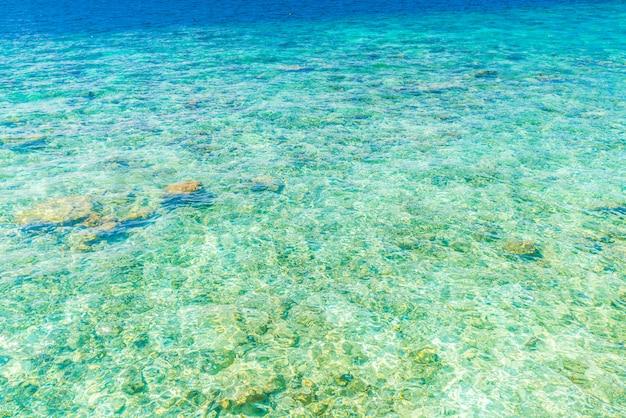 Vue de dessus de la mer avec les récifs de corail à l'île des maldives. Photo Premium