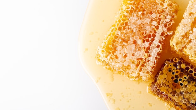 Vue De Dessus En Nid D'abeilles Doré Avec Espace De Copie Photo gratuit