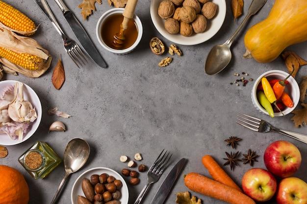 Vue De Dessus Nourriture Circulaire Alimentaire Photo gratuit