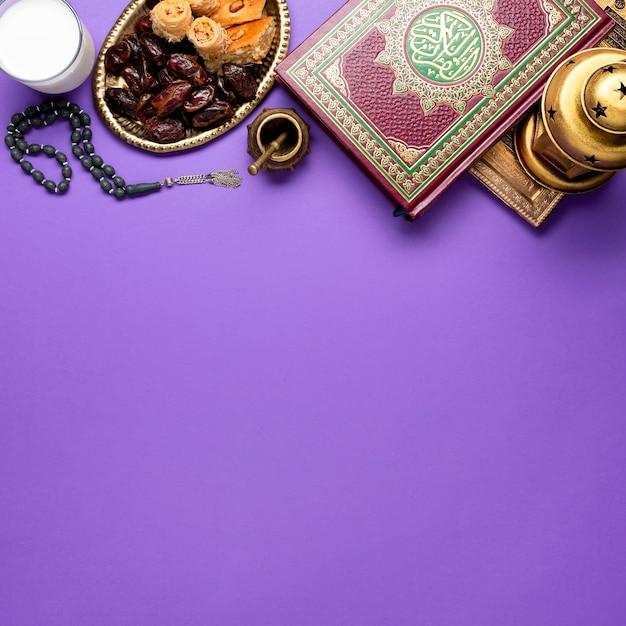 Vue De Dessus Nouvel An Arrangement Islamique Photo gratuit