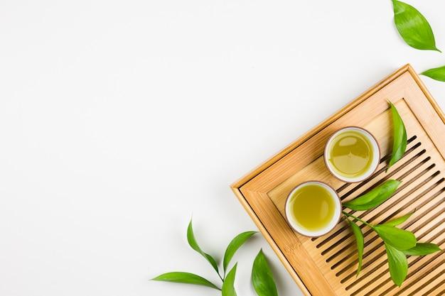Vue de dessus de la préparation de thé matcha Photo gratuit