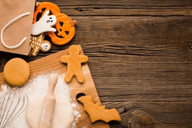 Vue de dessus savoureux biscuits d'halloween Photo gratuit