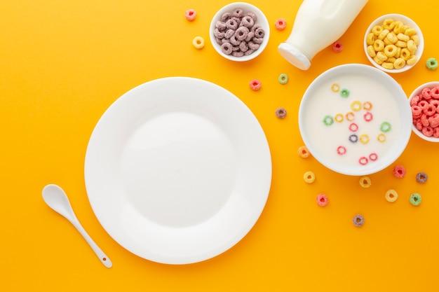 Vue De Dessus Savoureux Petit Déjeuner Avec Espace Copie Photo gratuit