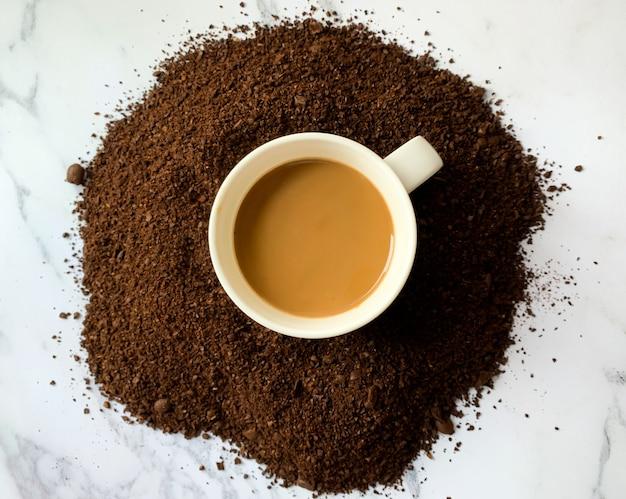 Vue de dessus de la tasse de café Photo Premium