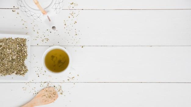 Vue de dessus tasse de thé avec des feuilles Photo gratuit