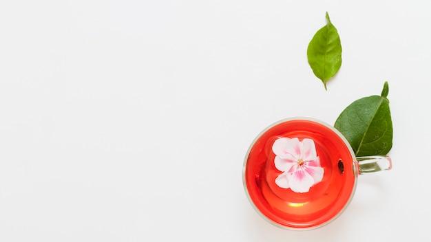 Vue de dessus tasse de thé avec des fleurs Photo gratuit