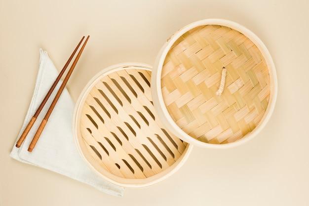 Vue de dessus de la vaisselle asiatique Photo gratuit