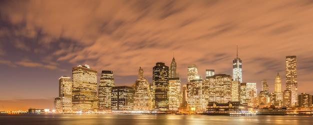 Vue du bas manhattan de brooklyn Photo Premium