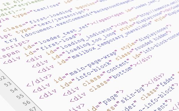 Vue Du Navigateur De Code Html Du Site Web Imprimée Sur Du Papier Blanc, Vue Rapprochée. Photo gratuit