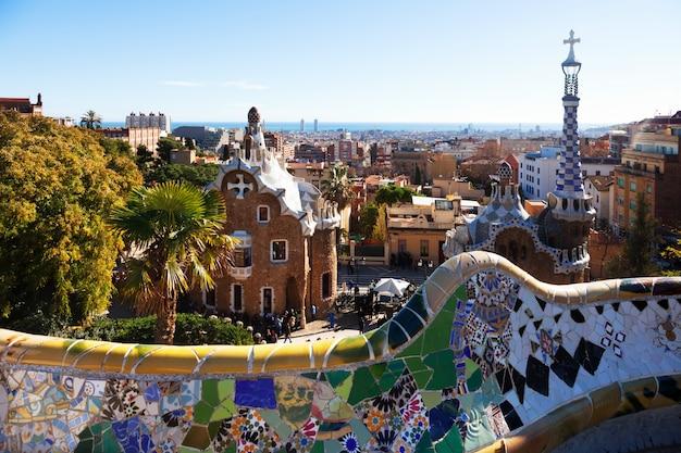 Vue du parc guell en hiver. barcelone Photo gratuit