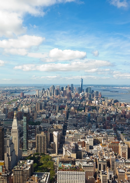 Vue du paysage urbain de manhattan, new york city. Photo Premium