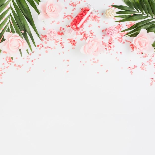 Vue élevée du sel de l'himalaya; feuilles et fleurs sur fond blanc Photo gratuit