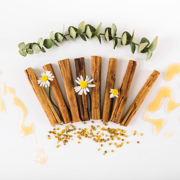 Vue élevée des épices; fleurs; miel et pollen d'abeille sur une surface blanche Photo gratuit
