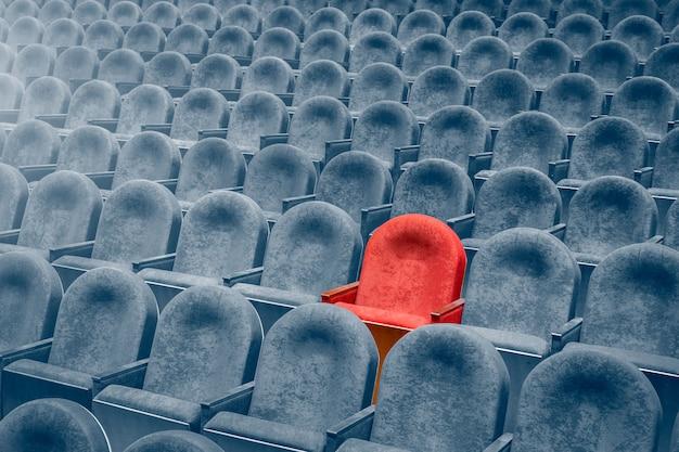 Vue des escaliers sur des rangées de fauteuils confortables au théâtre ou au cinéma. Photo Premium