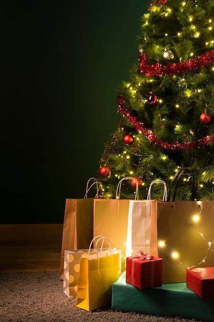 Vue De Face Du Concept De Cadeau De Noël Photo gratuit