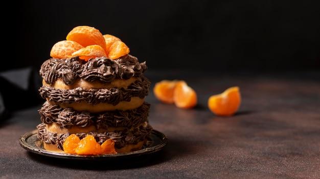 Vue De Face Du Concept De Délicieux Gâteau Au Chocolat Photo Premium