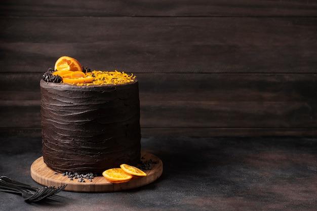 Vue De Face Du Concept De Délicieux Gâteau Au Chocolat Photo gratuit