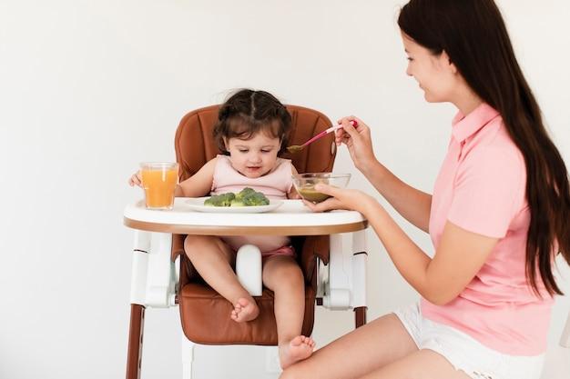 Vue de face maman nourrir sa fille Photo gratuit