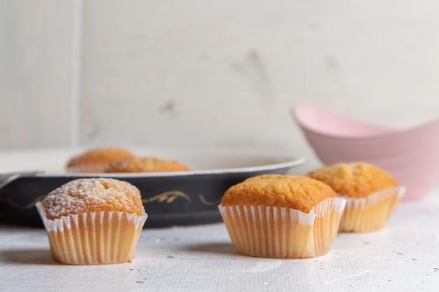 Vue De Face De Petits Gâteaux Délicieux Avec Du Sucre En Poudre Sur La Surface Blanche Photo gratuit