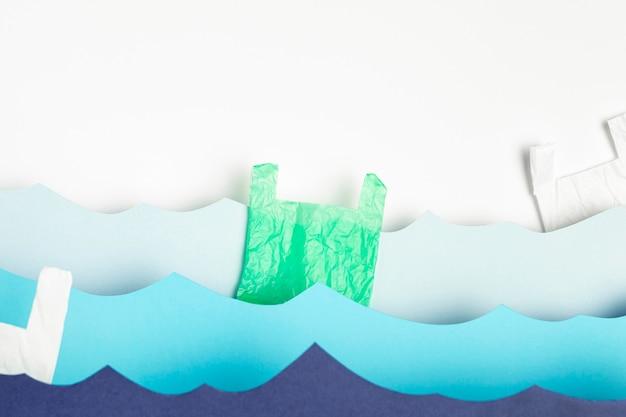 Vue De Face Des Vagues De L'océan En Papier Photo gratuit