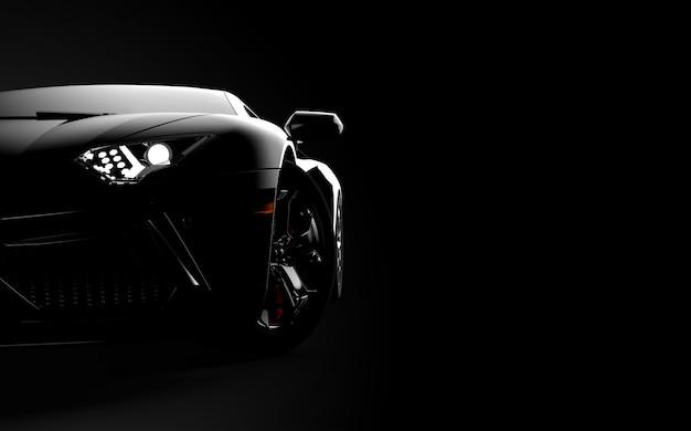 Vue de face d'une voiture de sport moderne générique et sans marque sur un fond sombre Photo Premium