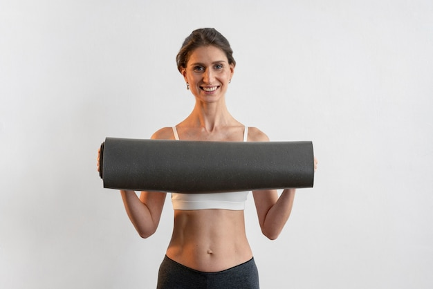 Vue Frontale, De, Smiley, Tenue Femme, Tapis Yoga Photo Premium