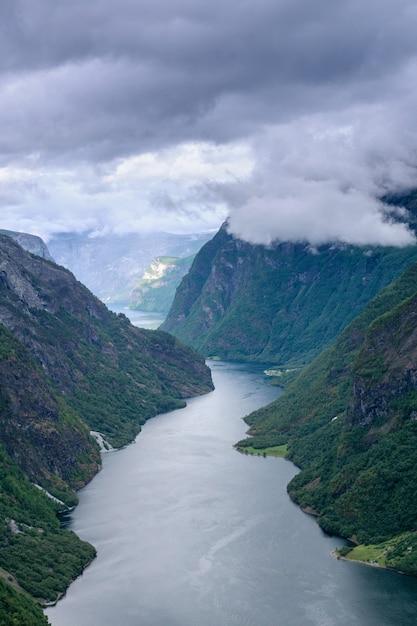 Vue En Haut Du Magnifique Fjord Norvégien, Le Sognefjord. Photo Premium