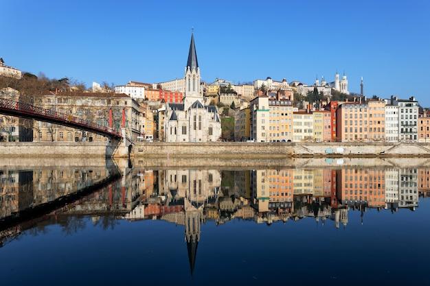 Vue Horizontale De Lyon Et De La Saône En France Photo Premium