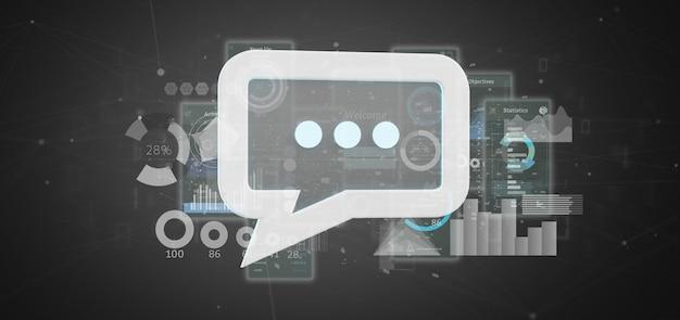 Vue d'une icône de message avec des données Photo Premium
