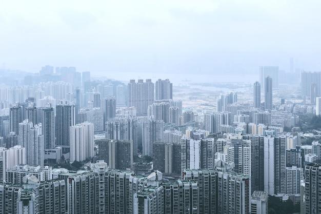 Vue de kowloon depuis la colline de lion rock Photo Premium
