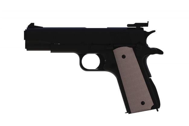 Vue latérale du pistolet de calibre .45 semi-automatique noir m1911 isolé, rendu 3d Photo Premium