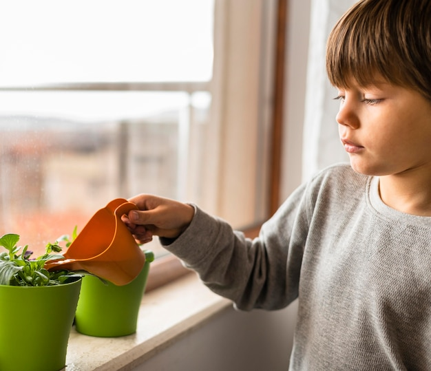Vue Latérale Des Plantes D'arrosage Des Enfants Par La Fenêtre Photo gratuit