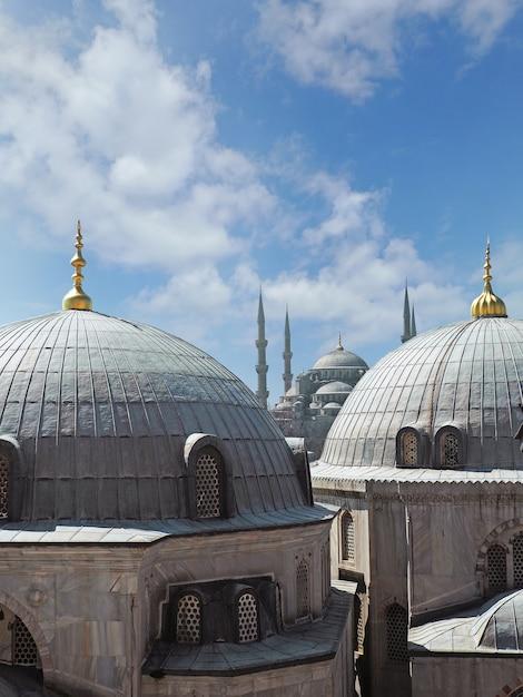 Vue de la mosquée bleue à travers des coupoles Photo Premium